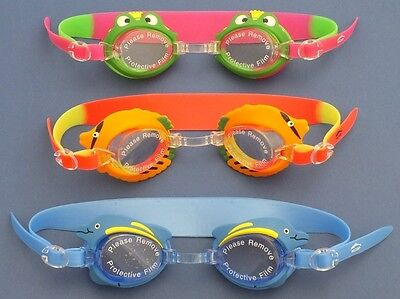 """3 Silicone Swimming Goggles for Kids """"Prince Frog/"""" /""""Dolphin/"""" and /""""Fish/"""" models"""