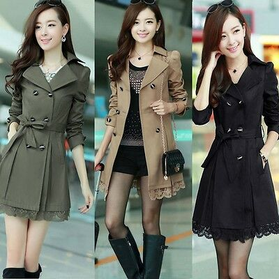 2014 Women Long Sleeve Slim Fit Trench Double Breasted Coat Jacket Outwear NEW