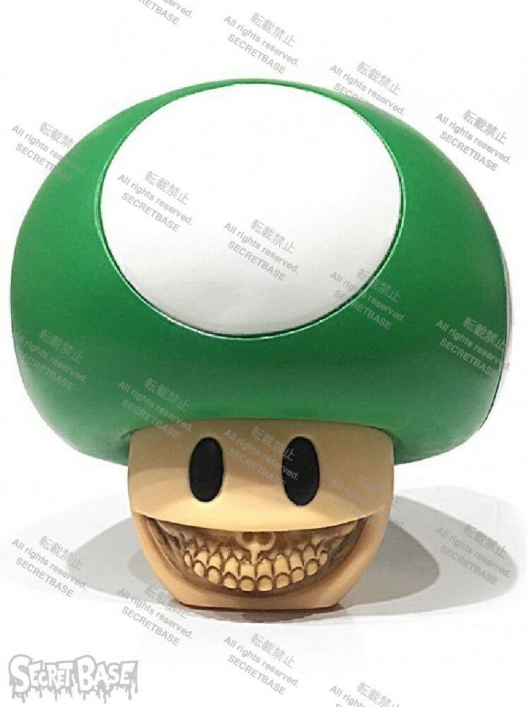 New Secret base Mushroom Grin by Ron English GREEN Figure from Japan