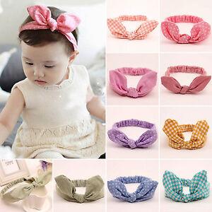Baby-Girls-Kids-Bunny-Rabbit-Plaid-Bow-Knot-Turban-Headband-Hair-Band-Headwrap