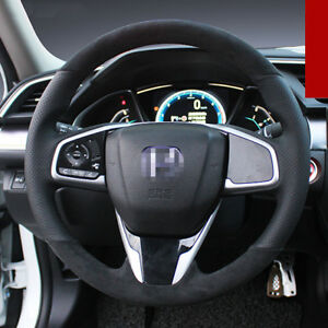 For-Honda-Civic-10th-Steering-Wheel-Cover-Black-Leather-Black-thread-Hand-Sewing