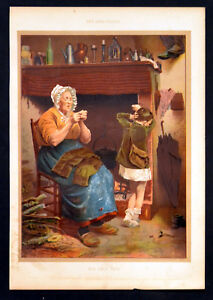 HIS ONLY PAIR 1880s Maclure Macdonald Pen and Ink CHROMOLITHOGRAPH - Deal, United Kingdom - HIS ONLY PAIR 1880s Maclure Macdonald Pen and Ink CHROMOLITHOGRAPH - Deal, United Kingdom