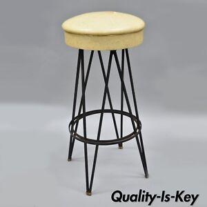 Fantastic Vintage Wrought Iron Metal Hairpin Leg Atomic Era Swivel Bar Pdpeps Interior Chair Design Pdpepsorg