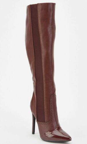RP £ 60 Talla 3 36 Borgoña Vino ciruela imitación de cuero de patente de la rodilla Botas Taco Alto Nuevo