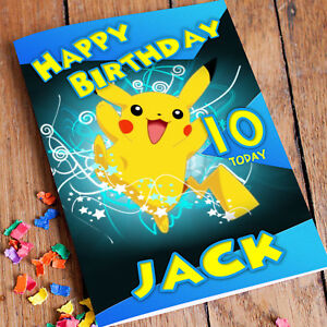 Image Is Loading POKEMON PIKACHU Personalised Birthday Card Son Brother Daughter