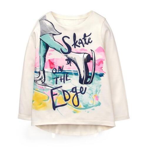 NWT GYMBOREE Figure Skating Girl/'s Long Sleeve Shirt White Sparkly SELECT SIZE