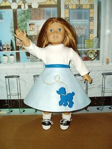 Lt-Blue-Poodle-Skirt-18-034-Doll-Clothes-Fit-American-Girl