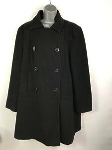 WOMENS-BHS-BLACK-DOUBLE-BREASTED-SMART-WINTER-OVERCOAT-JACKET-SIZE-UK-20