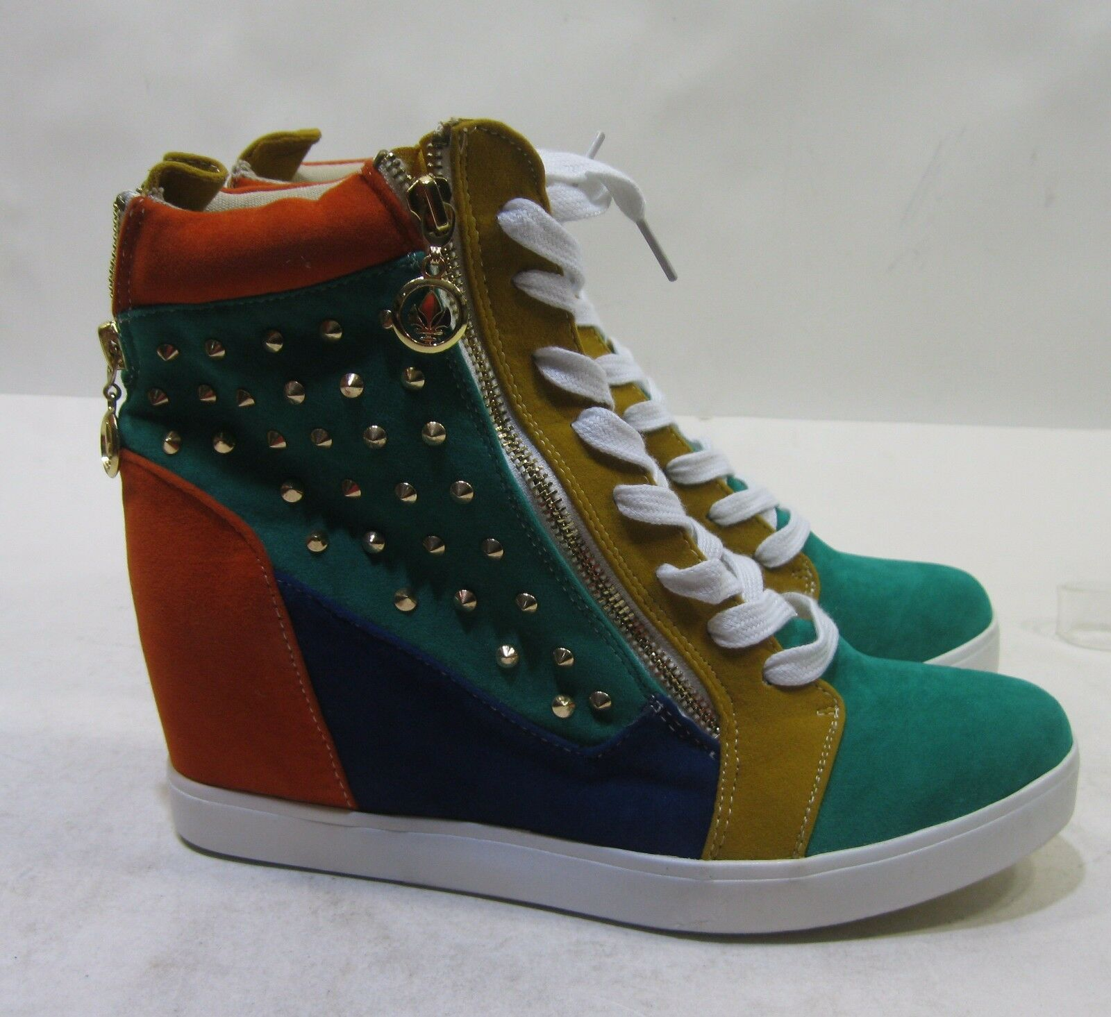 "Green/Multi Spikes 3""Hidden Wedge Heel Lace Up Ankle Boots Size 9"