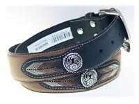 Nocona Western Leather Belt 1-1/2 Inch Woven Arrow Pattern Distressed