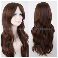 New Girl Long Curly WAVE Brown Heat Resistant Wig Cosplay Hair Full Natural Wigs