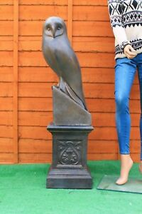 LARGE-BRONZED-GARDEN-STATUE-OWL-AND-PLINTH