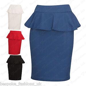 Ladies-Women-039-s-CREPE-TEXTURED-Peplum-Bodycon-Knee-Length-Skirt-Plus-Size-8-22