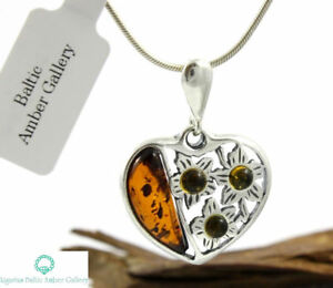 NATURAL-BALTIC-AMBER-STERLING-SILVER-925-PENDANT-amp-CHAIN-NECKLACE-Certified
