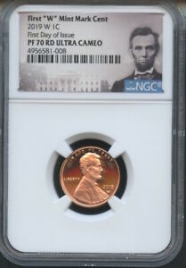 """2019 W First /""""W/"""" Mint Mark Lincoln Cent Early Releases NGC PF69 RD U.C Star"""