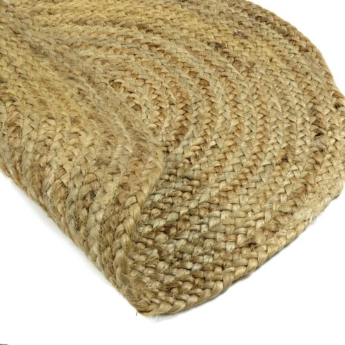 Indian Braided Jute Carpet Chindi Hand Woven Brown Round Shape Living Room Rug