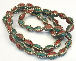 Ethnic-Tibetan-Nepalese-Handmade-Brass-50-Masala-Beads-Turquoise-And-Coral