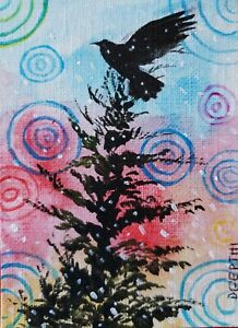 ACEO-original-miniature-painting-Raven-Perspective