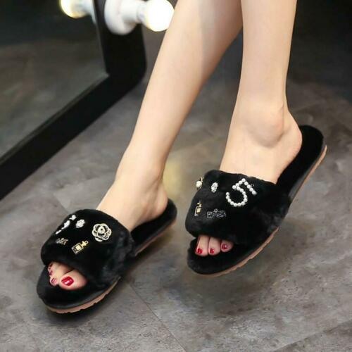 Fur Slippers Design Women Luxury Fluffy Flat Slider Shoes Sliders Sandals Ladies