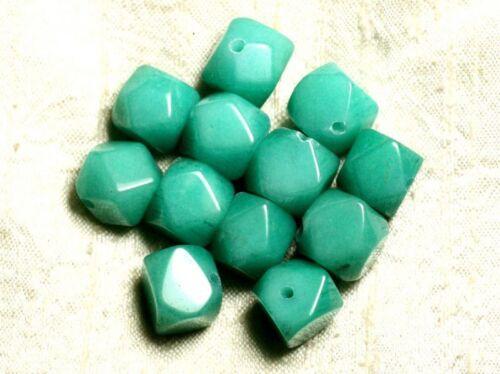 Jade Turquoise Cubes Nuggets Facettés 14-15mm   4558550 2pc Perles de Pierre