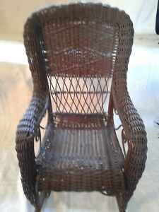 Excellent Details About Antique Childs Brown Wicker Rocking Chair 29 1 2 Inches Tall Evergreenethics Interior Chair Design Evergreenethicsorg