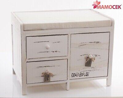 Fashion Style Panchetta Cassettiera Legno Home Love Seduta 3 Cassetta 60x40 H45 Bianco Shabby 2019 Ultima Vendita Online Stile 50%