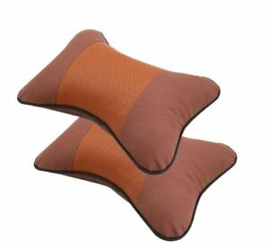2x Car Seat Genuine Leather Headrest Neck Pillow  - BROWN