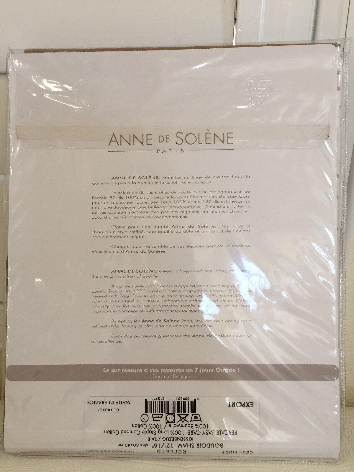Anne De Solene Pivoine anne de solene paris bed linens reflets nude boudoir sham 100% cotton new
