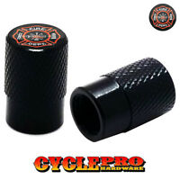 2 Black Billet Knurled Tire Valve Cap Motorcycle - Fire Dept Firefighter - 073