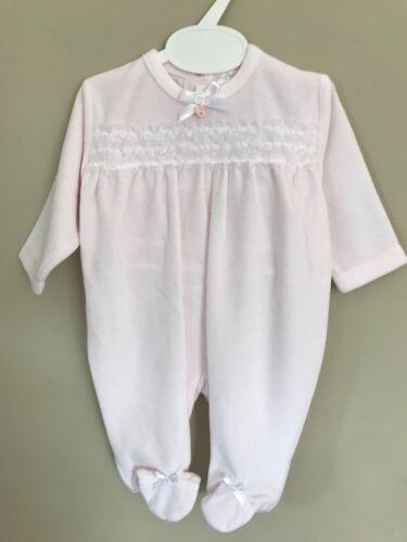 Newborn Baby Girl Espagnol Dentelle /& Noeud en Coton Velours Sleepsuit barboteuse Babygrow