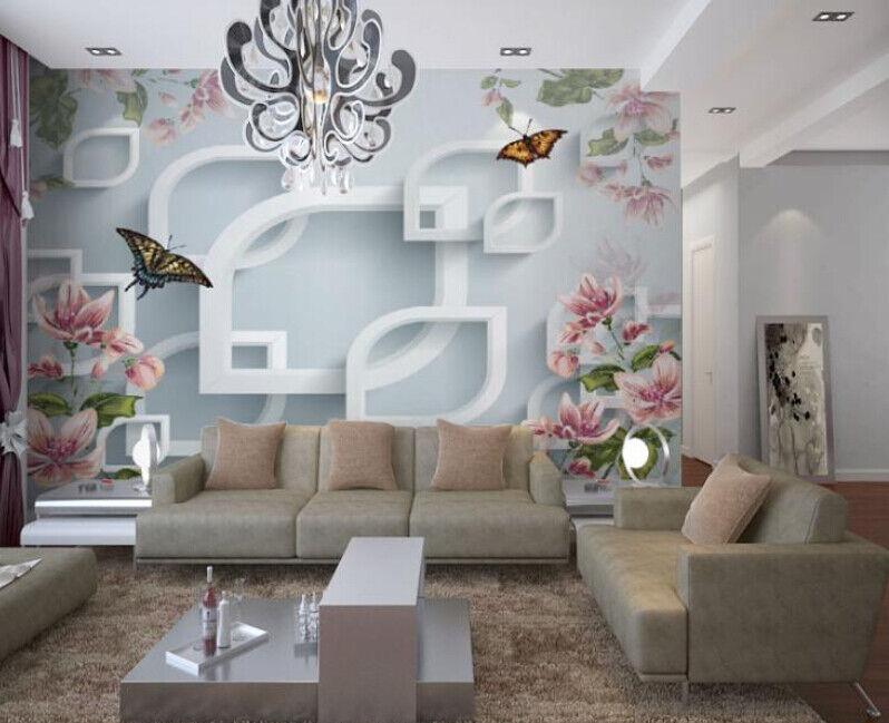 3D Butterfly Flowers 8 Wall Paper Murals Wall Print Wall Wallpaper Mural AU Kyra