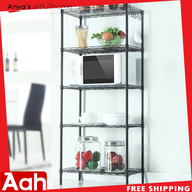 Remarkable 5 Tier Wire Shelving Unit Adjustable Metal Shelf Rack Kitchen Storage Organizer Interior Design Ideas Oxytryabchikinfo