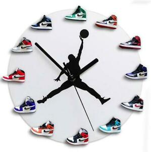 Details about Watch Gifts 3D mini white Sneakers Clock USA Wall Air Jordan 23 Shoes