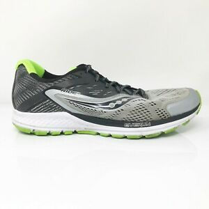 Saucony-Mens-Ride-10-S20373-1-Gray-Black-Running-Shoes-Lace-Up-Low-Top-Size-8-5