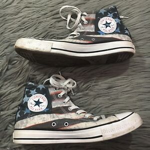 e5db90151cfa Converse All Star American Flag Stars Stripes High Top Mens 9 Women ...