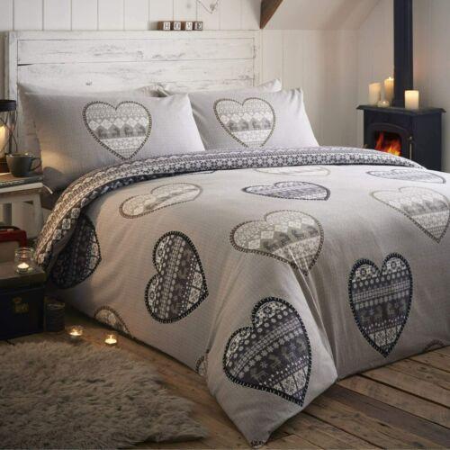 Réversible Gris Scandi love coeurs Patchwork Simple Flanelle Parure de lit