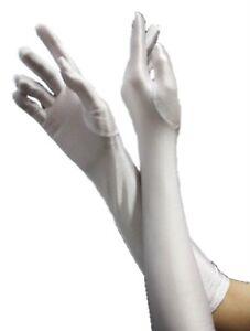 01f2b54e9b04e6 HAAC Handschuhe lang glänzend Farbe WEISS für Fasching Karneval Party