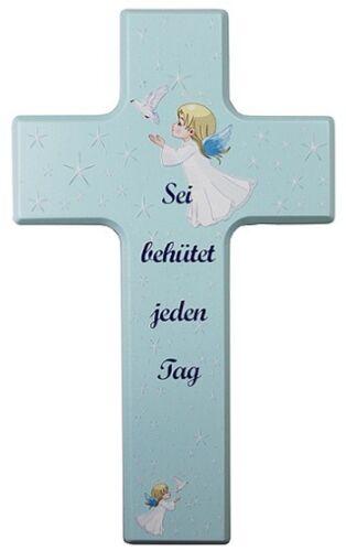 Kinderkreuz Holzkreuz Taufkreuz hell blau Geburt Taufgeschenke Taufe Kommunion