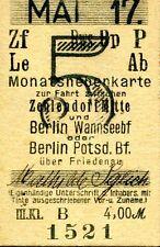 Monatskarte S-Bahn Berlin Mai 1917 Zehlendorf Mitte Berlin Wannseebahnhof