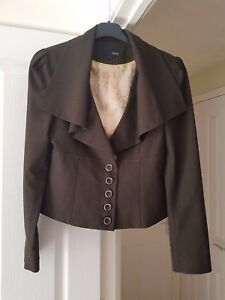 Super-Next-Brown-Tailored-Jacket-Lined-Big-Collar-Size-12-VGC
