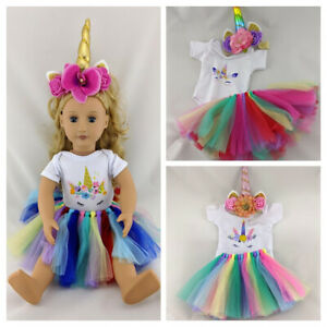 UNICORN CLOTHES, TOP, SKIRT & HEADBAND FITS OUR GENERATION / AMERICAN GIRL DOLL