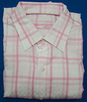 Tasso Elba Pink Checked Long Sleeve Dress Shirt - Size Medium - 15 - 15 1/2