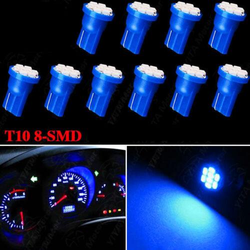 10x T10 8 SMD LED Blue Interior Instrument License Light W5W 194 168 2825 158