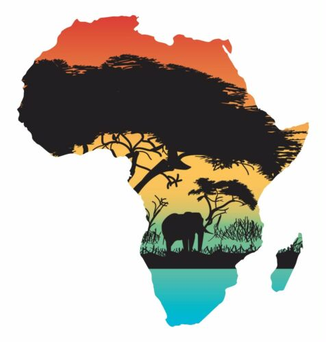 1x STICKER AFRICA JUNGLE SILHOUETTE BUMPER CAR DECAL MAP FLAG WATERPROOF VINYL