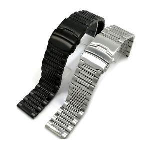 Double-Clasp-Wrist-Watch-Bracelet-Band-Strap-Replacement-Strap-Stainless-Steel