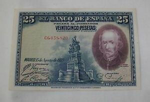 Spain-1928-25-peseta-banknote-Pedro-Calderon-de-la-Barca-Scarce-XF-condition