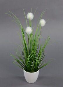 Kugelgras-38cm-im-weissen-Dekotopf-GA-Kunstpflanzen-kuenstliche-Pflanzen-Dekogras