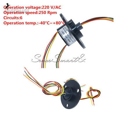 22mm 6 Wires 6 Conductors 220V AC 250Rpm Capsule Compact Slip Ring CCTV Monitor