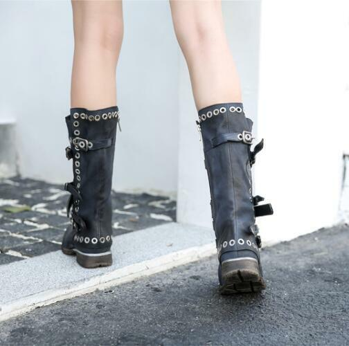 Punk Women Rivet Flat Buckle Strap shoes Gothic Gothic Gothic Leather Knee High Knight Boots 3c1615