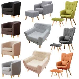 17 Styles Fabric Linen Velvet Armchair Sofa Tub Accent Upholster